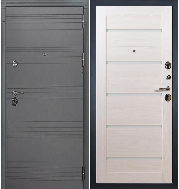 Входная дверь Сенатор 3К Графит софт / Клеопатра Беленый дуб (панель №58)