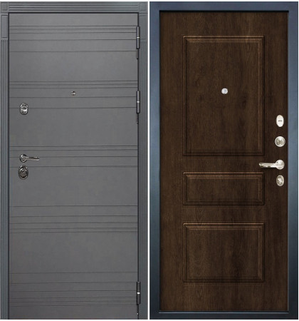 Входная дверь Сенатор 3К Графит софт / Алмон 28 (панель №60)
