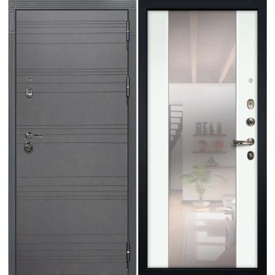 Входная дверь Лекс Сенатор 3К Графит софт / Стиль Белый экошпон (панель №61)