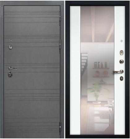 Входная дверь Сенатор 3К Графит софт / Стиль Белый экошпон (панель №61)