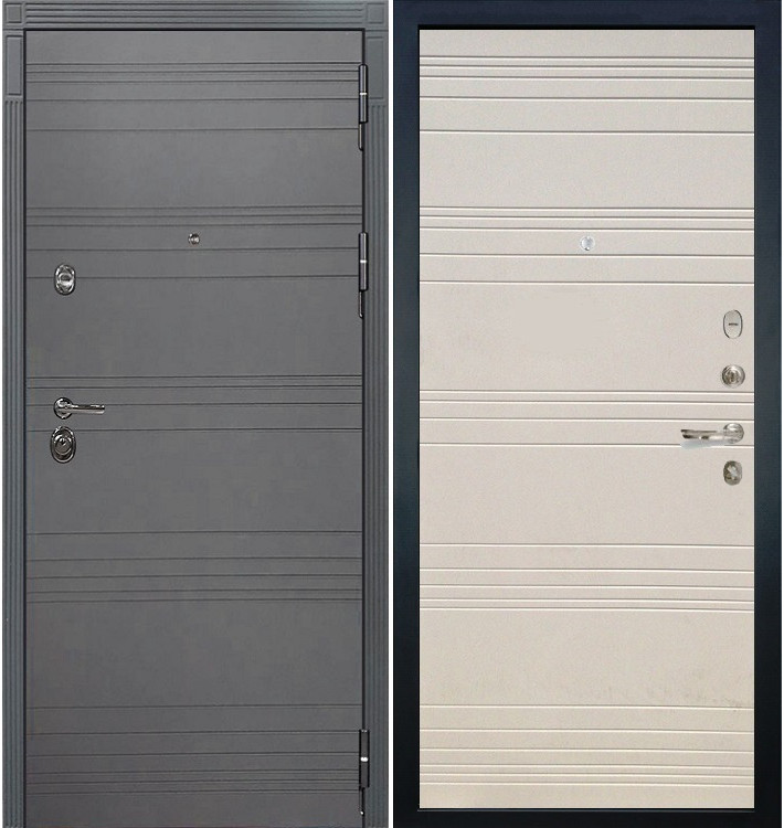 Входная дверь Сенатор 3К Графит софт / Дуб фактурный крем (панель №63)