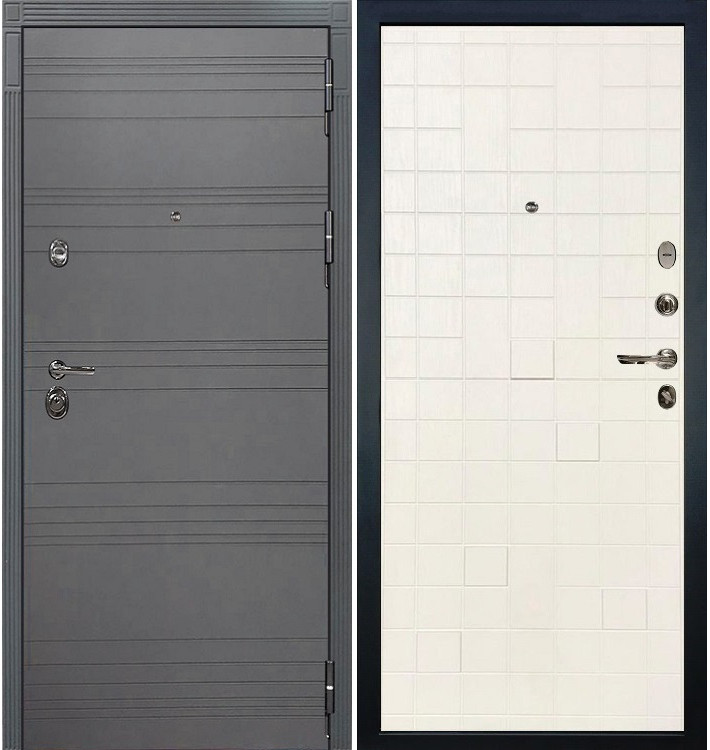 Входная дверь Сенатор 3К Графит софт / Белый ясень (панель №56)