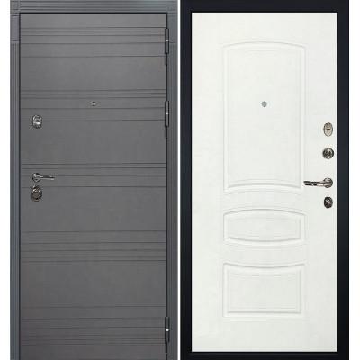 Входная дверь Лекс Сенатор 3К Графит софт / Белая шагрень (панель №68)