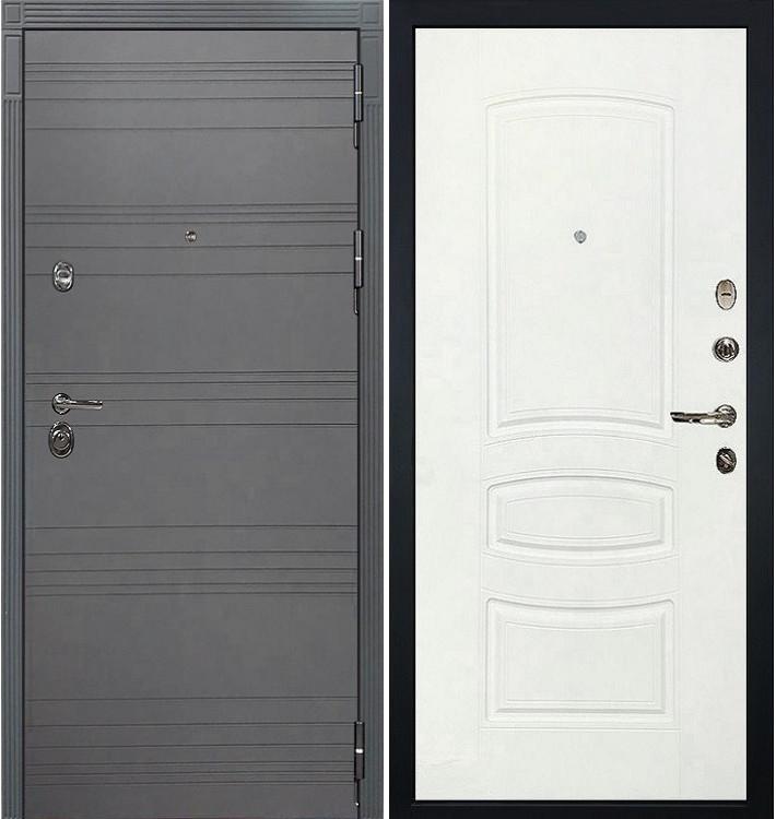 Входная дверь Сенатор 3К Графит софт / Белая шагрень (панель №68)