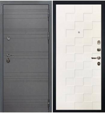 Входная дверь Лекс Сенатор 3К Графит софт / Белая шагрень Квадро (панель №71)