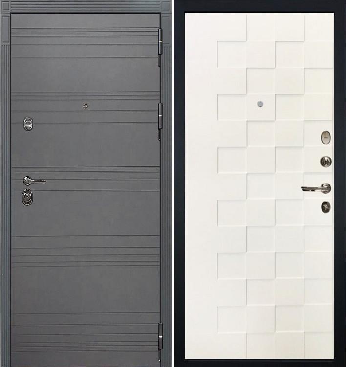 Входная дверь Сенатор 3К Графит софт / Белая шагрень Квадро (панель №71)