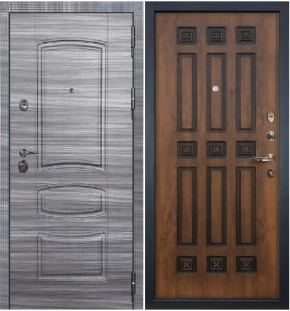Входная Дверь Сенатор 3К Сандал серый / Голден патина черная (панель №33)