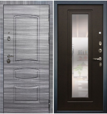 Входная дверь Лекс Сенатор 3К Сандал серый / Венге с Зеркалом (панель №22)