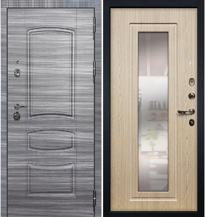 Входная Дверь Сенатор 3К Сандал серый / Беленый дуб с Зеркалом (панель №23)