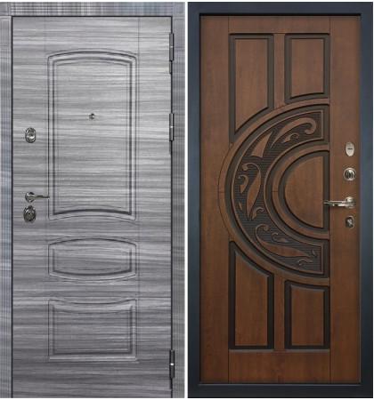 Входная Дверь Сенатор 3К Сандал серый / Голден патина черная (панель №27)