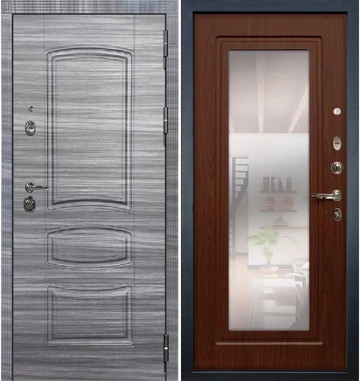 Входная Дверь Сенатор 3К Сандал серый / Береза мореная с Зеркалом (панель №30)
