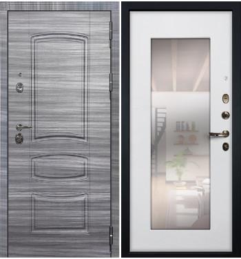 Входная Дверь Сенатор 3К Сандал серый / Белый ясень с Зеркалом (панель №37)