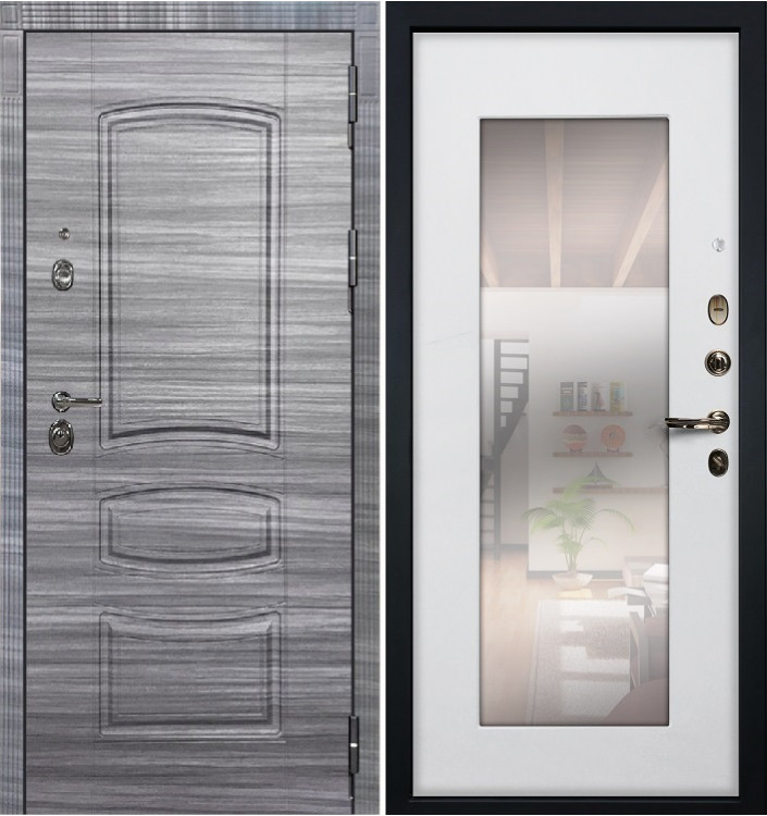 Входная дверь Лекс Сенатор 3К Сандал серый / Белый ясень с Зеркалом (панель №37)