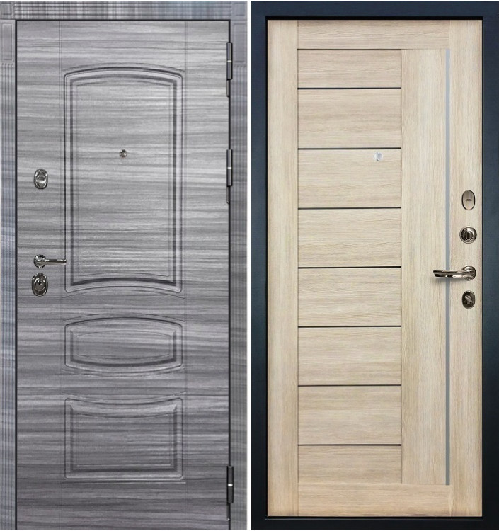 Входная дверь Лекс Сенатор 3К Сандал серый / Верджиния Ясень кремовый (панель №40)