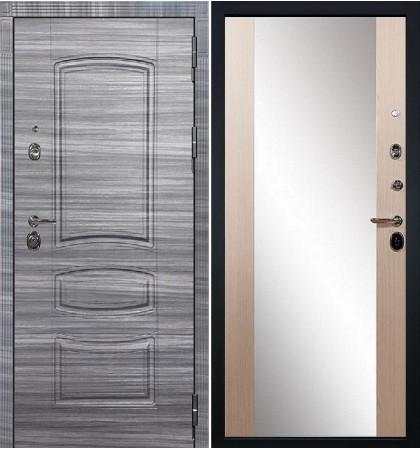Входная Дверь Сенатор 3К Сандал серый / Беленый дуб с Зеркалом Стиль (панель №45)