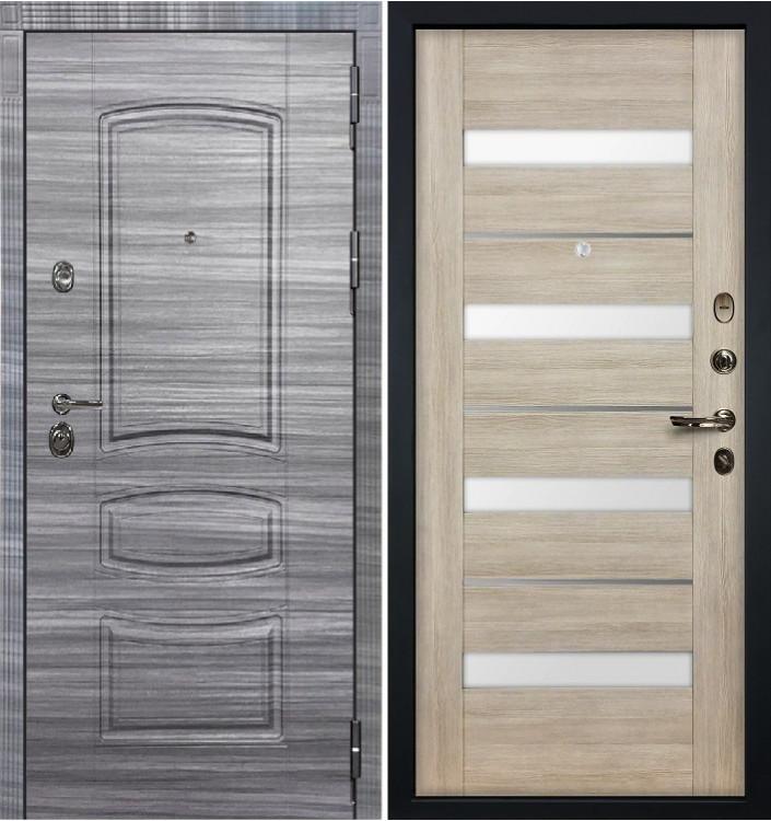 Входная дверь Лекс Сенатор 3К Сандал серый / Сицилио Ясень кремовый (панель №48)