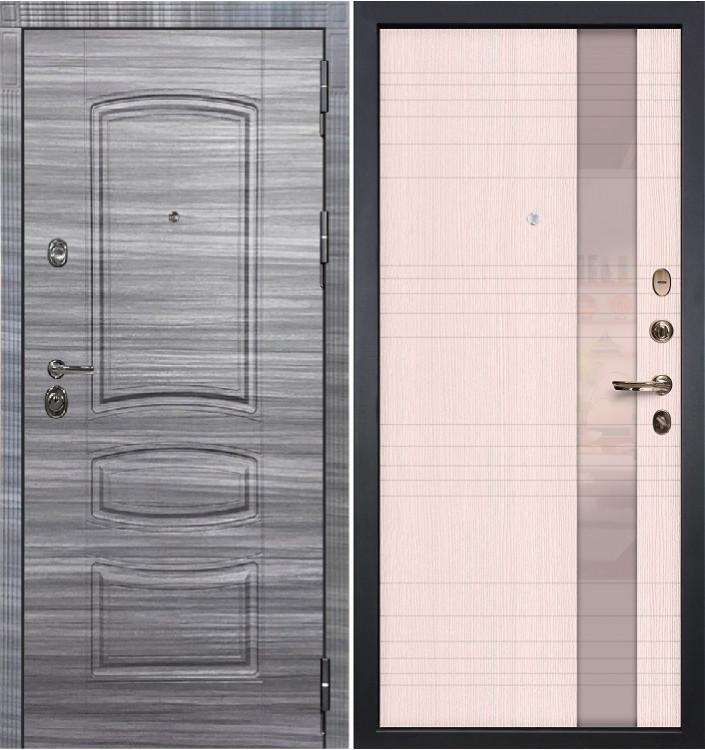 Входная дверь Лекс Сенатор 3К Сандал серый / Новита Беленый дуб (панель №52)