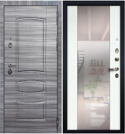 Входная Дверь Сенатор 3К Сандал серый / Белый экошпон с Зеркалом Стиль (панель №61)