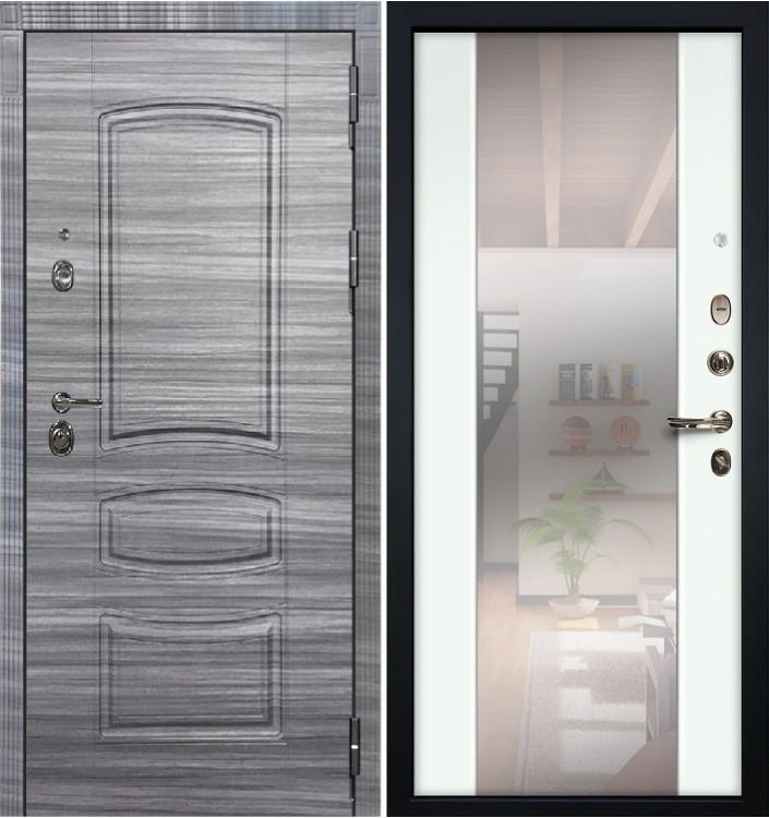 Входная дверь Лекс Сенатор 3К Сандал серый / Белый экошпон с Зеркалом Стиль (панель №61)
