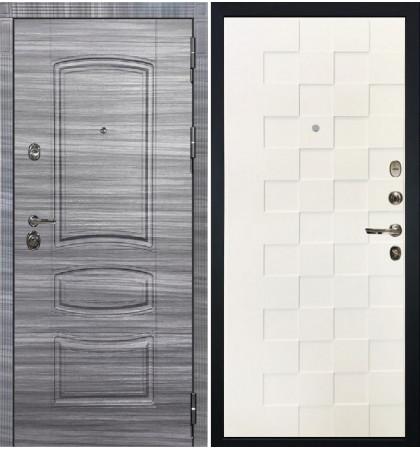 Входная Дверь Сенатор 3К Сандал серый Квадро / Белая шагрень (панель №71)
