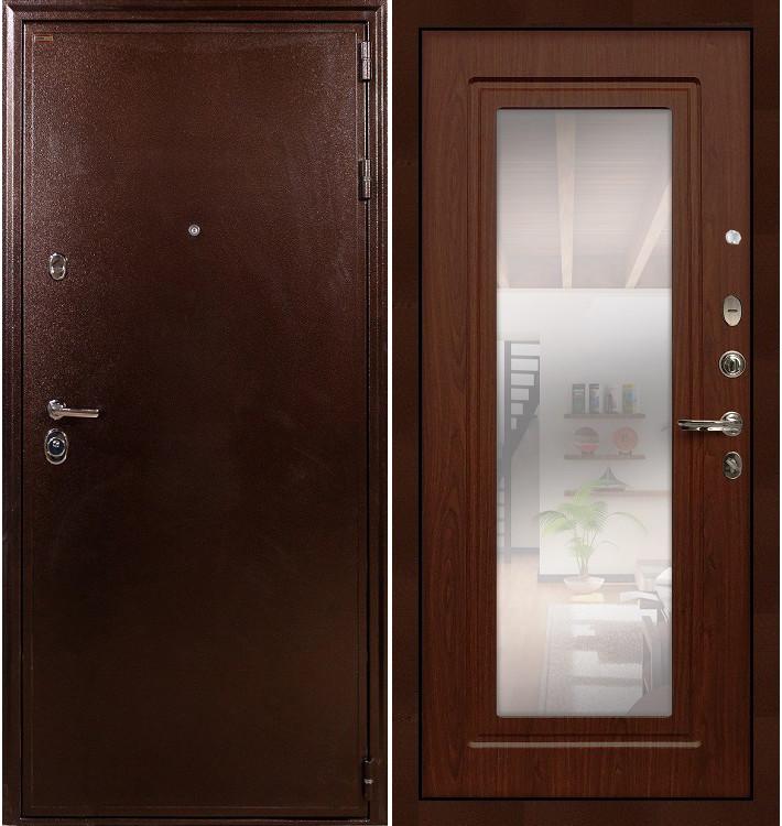Входная дверь Цезарь 5А / с зеркалом Береза мореная (панель №30)
