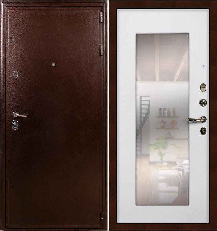 Входная дверь Лекс Цезарь 5А / с зеркалом Белый ясень (панель №37)