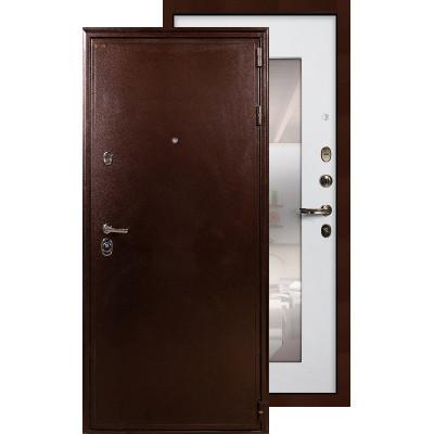 Входная дверь Лекс Цезарь 5А с зеркалом (Белый ясень)