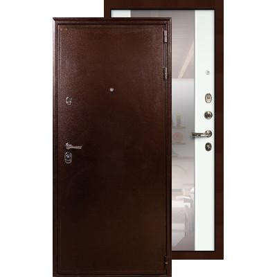 Входная дверь Лекс Цезарь 5А с большим зеркалом (Белый ясень)