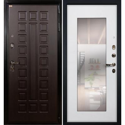 Входная дверь Лекс Гладиатор / с зеркалом Белый ясень (панель №37)
