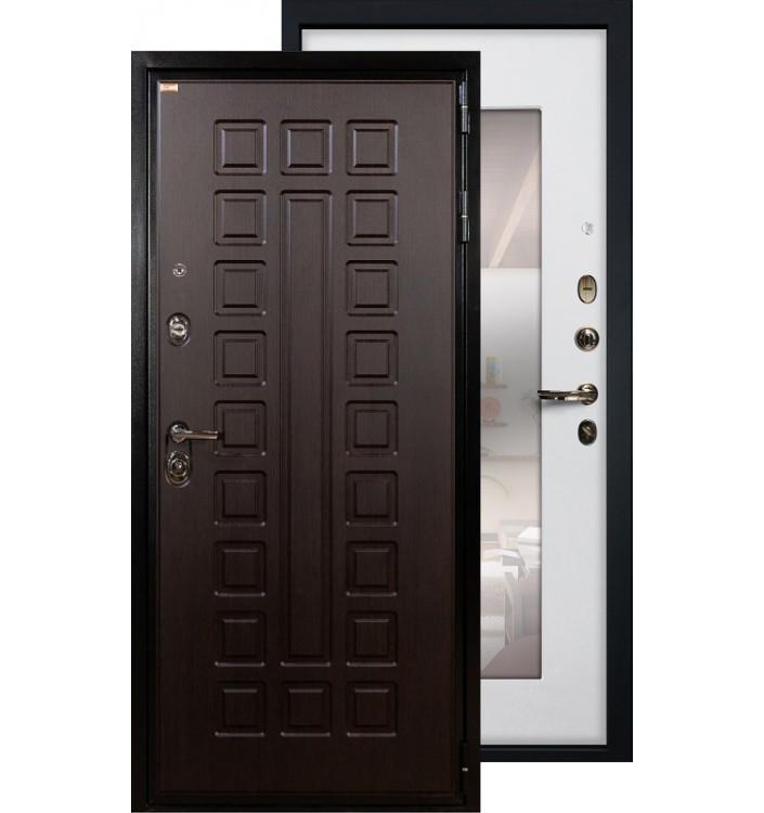 Входная дверь Лекс Гладиатор с зеркалом (Белый ясень)