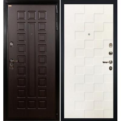 Входная дверь Лекс Гладиатор / Квадро Белая шагрень (панель №71)