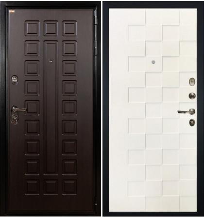 Входная дверь Гладиатор / Квадро Белая шагрень (панель №71)