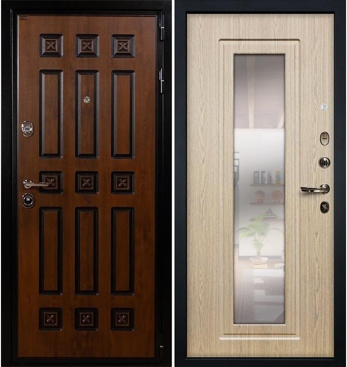 Входная дверь Гладиатор Винорит / с зеркалом Беленый дуб (панель №23)
