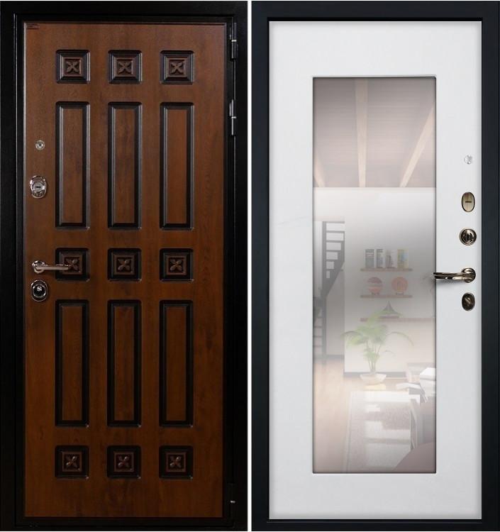 Входная дверь Лекс Гладиатор Винорит / с зеркалом Белый ясень (панель №37)