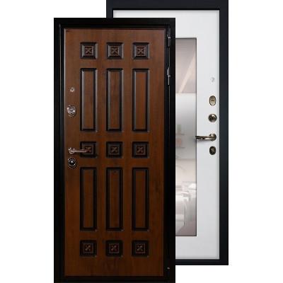 Входная дверь Лекс Гладиатор Винорит с зеркалом (Белый ясень)