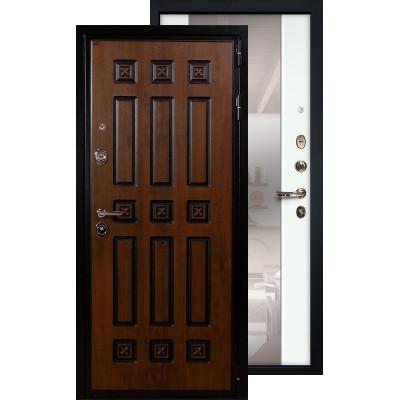 Входная дверь Лекс Гладиатор Винорит с большим зеркалом (Белый ясень)