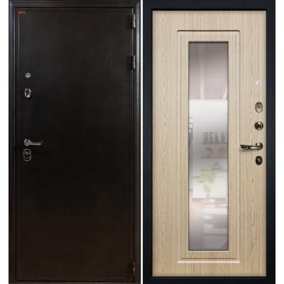 Входная дверь Лекс Колизей / с зеркалом Беленый дуб (панель №23)