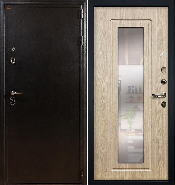 Входная дверь Колизей / с зеркалом Беленый дуб (панель №23)