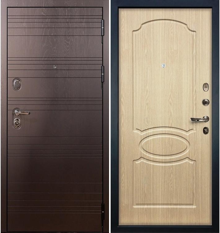 Входная дверь Легион Ясень шоколадный / Беленый дуб (панель №14)