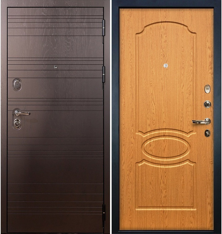 Входная дверь Легион Ясень шоколадный / Дуб натуральный (панель №15)
