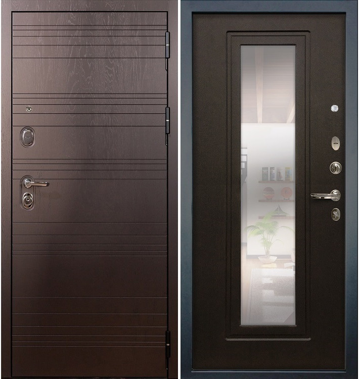 Входная дверь Легион Ясень шоколадный / с зеркалом Венге (панель №22)