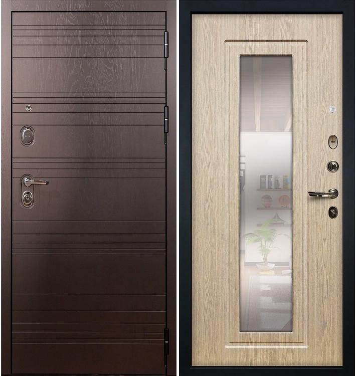 Входная дверь Легион Ясень шоколадный / с зеркалом Беленый дуб (панель №23)