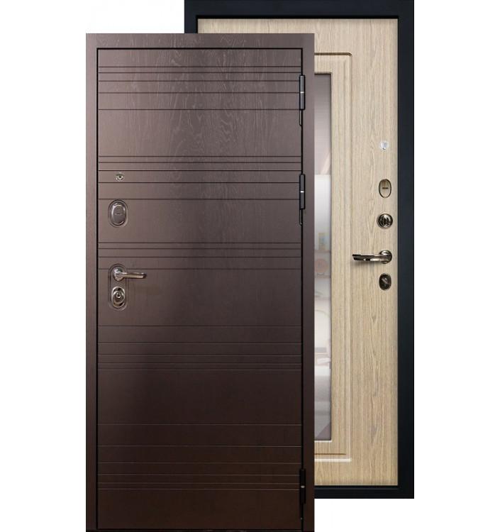 Входная дверь Лекс Легион с зеркалом (Беленый дуб)