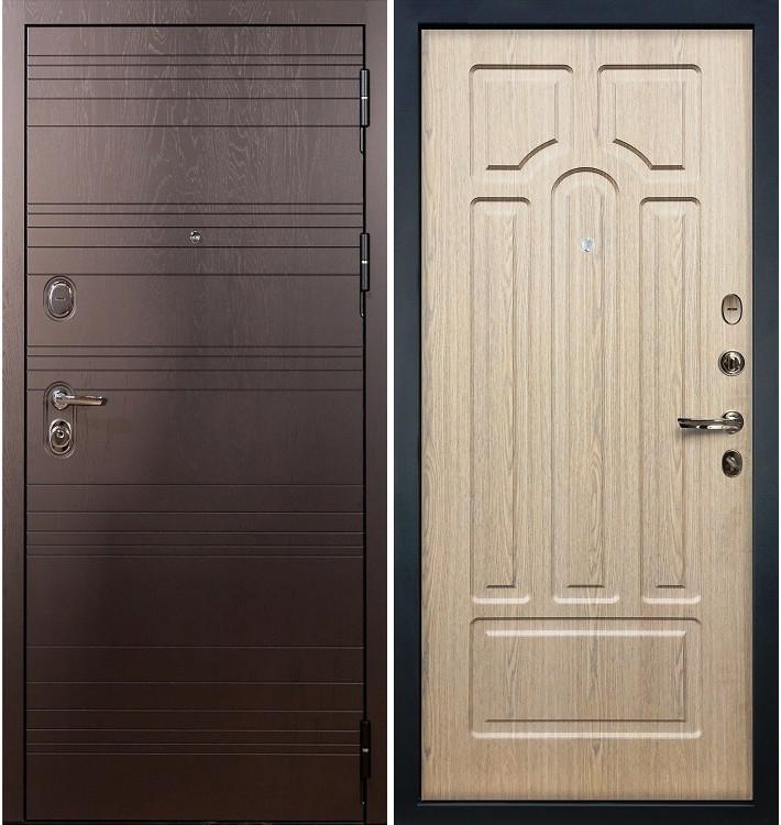 Входная дверь Легион Ясень шоколадный / Беленый дуб (панель №25)