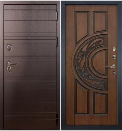 Входная дверь Легион Ясень шоколадный / Голден патина (панель №27)