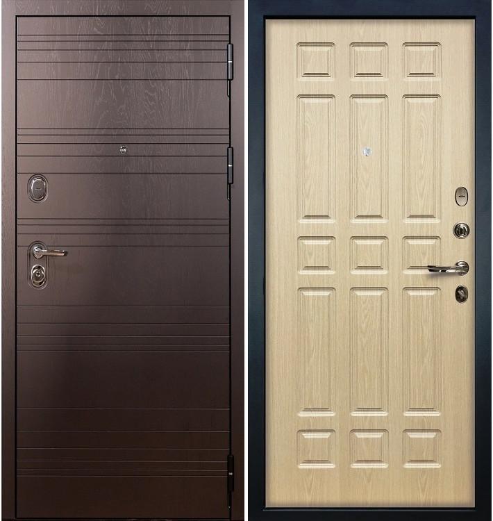 Входная дверь Легион Ясень шоколадный / Беленый дуб (панель №28)