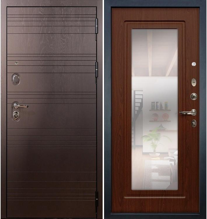 Входная дверь Легион Ясень шоколадный / с зеркалом Береза мореная (панель №30)