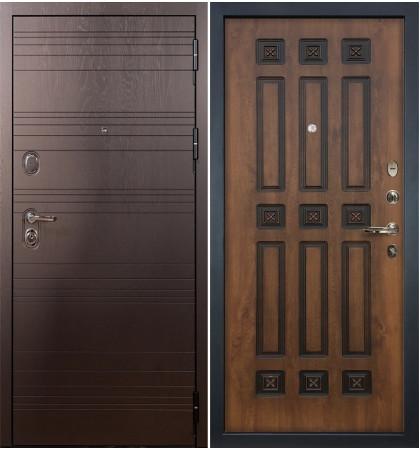 Входная дверь Легион Ясень шоколадный / Голден патина (панель №33)