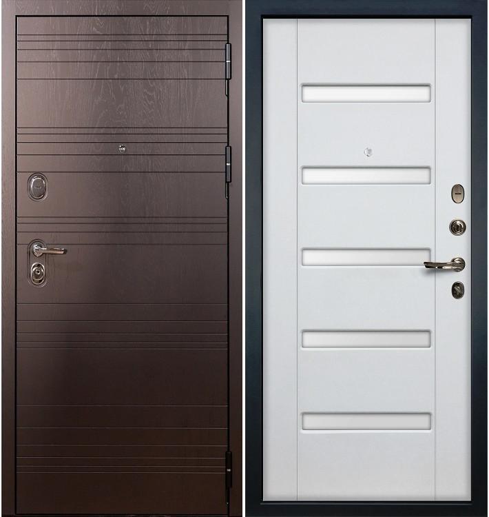 Входная дверь Легион Ясень шоколадный / Белый ясень (панель №34)