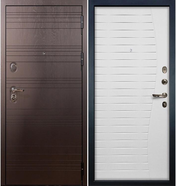 Входная дверь Легион Ясень шоколадный / Волна Белый ясень (панель №36)
